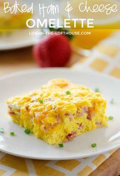 Baked Ham and Cheese Omelette – muffins Ham Egg Bake, Egg And Cheese Casserole, Ham Casserole, Breakfast Casserole With Ham, Casserole Recipes, Breakfast Desayunos, Breakfast Dishes, Breakfast Recipes, Breakfast Omelette
