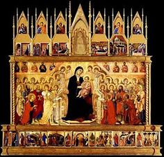 "Maestà (Front view) - Duccio.  1308-11.  Tempera and gold leaf on panel.  Originally 7' x 13' x 6"".  Museo dell'Opera del Duomo, Metropolitana, Siena, Italy."
