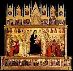 """Maestà (Front view) - Duccio.  1308-11.  Tempera and gold leaf on panel.  Originally 7' x 13' x 6"""".  Museo dell'Opera del Duomo, Metropolitana, Siena, Italy."""