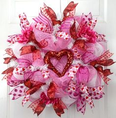 Deco Mesh Valentine Wreath Pink White Red Heart Door Wreath Valentine's Day by www.southerncharm... SOLD