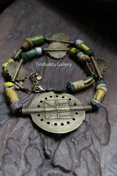 Artisan necklace. Old Ashanti / Asante bronze by Timbuktugallery