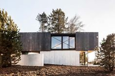 located near basel, 'house in riehen' is a two storey building embedded into the contours of its plot.