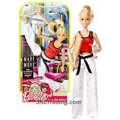 2016 Barbie Made to Move MTM Martial Artist - Blond - Articulated - Karate Chop Break-away Breaking Board, Silver Karate Trophy Statue Award, Gee / Uniform, Black Belt - The Ultimate Posable Barbie Doll - Mattel Barbie Club, Barbie 2000, Barbie World, Mattel Barbie, Barbies Pics, Made To Move Barbie, Barbie Wardrobe, Doll Clothes Barbie, Barbie Stuff