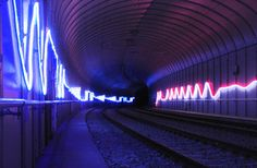 HC Gilje - LED Neon Light Rope Installation in Fantoft-paradis Tunnel for Bybanen in Bergen