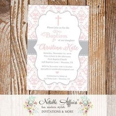 Gray and Light Pink Damask Baptism invitation new to the store!  Check out all of the other Baptism designs.  Purchase on Etsy in the Notable Affairs store. Link in Profile . . . . . . Coming soon to www.notableaffairs.com . . . . . .  #notableaffairs #invitation #baptism #baptisminvitation #grayandpink #damask #invite #girlbaptism #graypinkbaptism #dedication #communion #firstcommunion