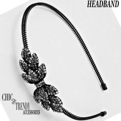 CLEARANCE CHARCOAL BLACK HEMATITE CRYSTAL HEADBAND  ACCESSORIES CHIC & TRENDY #Unbranded #Headbands #EVERYDAYORFORMAL