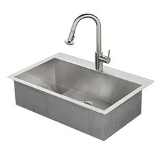 American Standard Memphis 33-in x 22-in Stainless Steel Single-Basin Drop-in or Undermount 1-Hole Residential Kitchen Sink All-In-One Kit