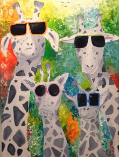 Giraffes with sunglasses, oil paint
