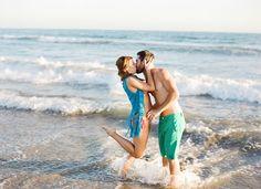 End of Summer Bohemian Shoot on the Beach  Kissing water ocean honeymoon love  Magnolia Event Design  Tenley Erin Young  Beach wedding