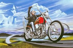 """Wine Country / 50's Style Biker"" - Originals - All Artwork - David Mann - Motorcycle Art 