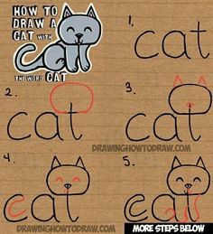 Learn how to draw a cute cartoon kitty cat from the word cat. This another tutorial in our fun cartoon words series. Have fun! drawing for kids How to Draw a Cat from the word Cat Easy Drawing Tutorial for Kids - How to Draw Step by Step Drawing Tutorials Easy Drawing Tutorial, Drawing Tutorials For Kids, Art Tutorials, Drawing Ideas, Drawing Tips, Drawing Art, Easy Drawing For Kids, Drawing Poses, Simple Cat Drawing