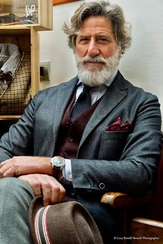 Check out Inherent Clothier shop for Premium Quality Suits! Older Mens Fashion, Best Mens Fashion, Mens Fashion Suits, Mens Suits, Denim Outfit, Denim Shirt, Grey Beards, Men With Grey Hair, Beard Lover