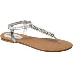 Silver Diamanté T-Bar Sandals found on Polyvore