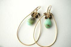 Sand & Water - Peruvian Opal and Brown Crystal Chandelier Earrings, Teardrop Earrings, Drop Earrings, Gemstone Earrings