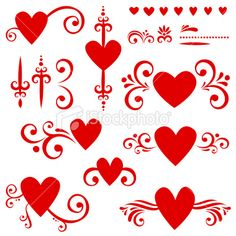 Hearts and scrolls design elements Royalty Free Stock Vector Art Illustration