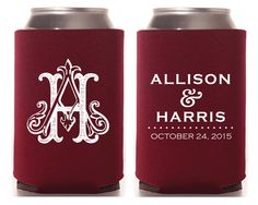 New to SipHipHooray on Etsy: Wedding Favor Monogrammed Coozies Wedding Koozies Wedding Favors Monogrammed Coozie Monogram Gift Beer Koozies (75.00 USD)