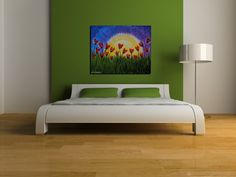 Abstract Large Red Tulips Painting