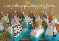 Colorful favors for a Wine, Cheese & Trees Painting Party at shakentogetherlife.com