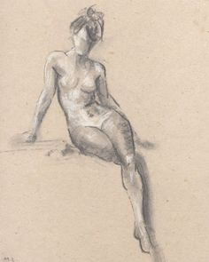 Nude sketch. Sketch of a woman. Woman sitting. by madareli on Etsy