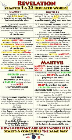 Revelation Chapter 1 & 22 Similarities & Repeated Words Comparison Chart - Book of Revelation Bible Study Notebook, Bible Study Tips, Bible Study Journal, Scripture Study, Bible Lessons, Bible Prayers, Bible Scriptures, Revelation Bible Study, Revelation 1