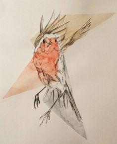 A little robin bird. ... #art #instaart #illustration #drawingoftheday #drawing #bird #robinbird #rougegorge #ink #watercolor