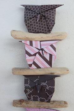 Mobile Hibou Origami Bois Flotté guirlande par LaureDaintyArt