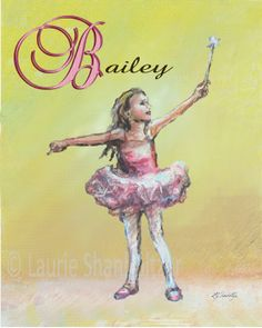 Ballet Dance Personalized Choose Ballerina, Name, Initial, print Girl Nursery art 8x10
