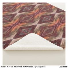 Rustic Mosaic American Native Indian Tribal Pattern Sherpa Blanket. Beautiful contemporary pink, orange, dark red, olive green, medium brown and gray mosaic pattern. Ornate, elegant and funky design for the fancy artistic interior designer, artsy fashion diva, hip trend setter, vintage retro, nouveau deco art style or abstract geometric motif lover. Modern home interior decor for the master or children's bedroom, living or family room, country cottage, log cabin, lake or river vacation home.