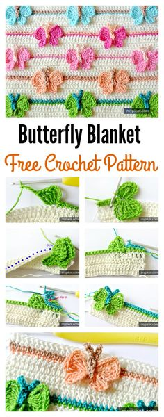 Crochet Flower Patterns There Stunning Crochet Butterfly Blanket Patterns You Can Try - Crochet butterfly stitch can be used in many different project such as a baby blanket etc. Check out these Stunning Crochet Butterfly Blanket Patterns. Crochet Puff Flower, Crochet Flower Patterns, Crochet Stitches Patterns, Crochet Designs, Crochet Flowers, Crochet Stars, Cross Stitches, Stitch Patterns, Crochet Leaves
