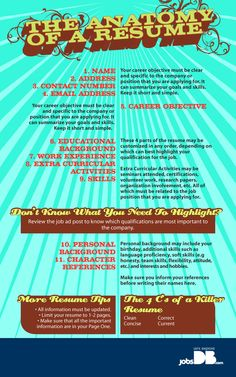 The anatomy of a resume. How to write a resume. Resume Writing Tips