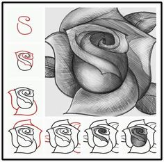 Drawing Doodles Sketches How to sketch a rose step by step DIY tutorial instructions: - Drawing Techniques, Drawing Tips, Drawing Sketches, Painting & Drawing, Sketching, Drawing Ideas, Sketch Ideas, Nail Drawing, Pencil Painting