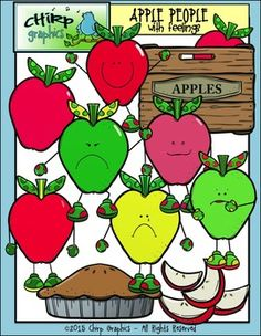 Clip art of apple people, apples, apple pie, apple crate, and apple slices! A total of 30 images - 10 blackline, 10 black and white, and and 10 colour.