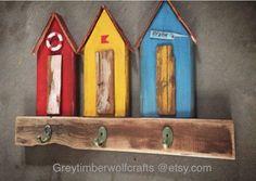 Little wood beachcabanas / huts with three hooks. Greytimberwolfcrafts @etsy.com