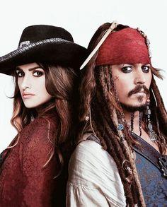 *ANGELICA MALON (Penelope Cruz) & CAPTAIN JACK SPARROW (Johnny Depp) ~ PIRATES of the CARIBBEAN:
