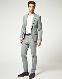 Mens Skinny Grey Suit Dress Yy