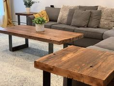 Reclaimed Wood Coffee Table set with Raw Steel Legs – The Carpentry Shop Co., LLC Coffee Table With Shelf, Oak Coffee Table, Coffee And End Tables, Living Room Table Sets, Living Room End Tables, Dining Tables, Crate Table, Reclaimed Wood Coffee Table, Table Settings