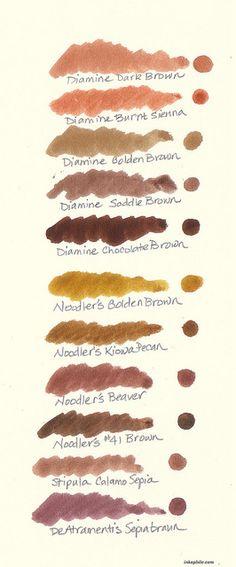 Brown Fountain Pen Ink Comparison