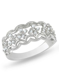 ICE.COM Sterling Silver Diamond Flower Filigree Ring