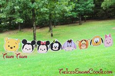Tsum Tsum Disney Characters Birthday Party Flag Hanging Banner DIY Idea-Winnie The Pooh Bear, Mickey Mouse, Minnie Mouse, Goofy,…