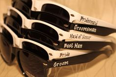 Set Of Wedding Favor Personalized Black White Combo Sungles For Outside Ceremony Or Reception Photo Booth