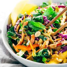 Make a delicious crunchy Thai salad with a creamy peanut dressing. Each bite of this vegetarian recipe packs a powerhouse of fresh superfoods in one bowl.