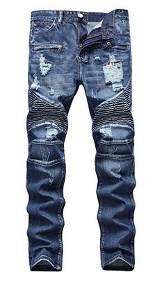 Shop the latest collection of NITAGUT Men's Ripped Slim Straight fit Biker Jeans Zipper Deco from the most popular stores - all in one place. Ripped Jeans Men, Biker Jeans, Men's Jeans, School Pants, Denim Cotton, Wardrobe Design, Designer Clothes For Men, Vintage Denim, Mens Clothing Styles