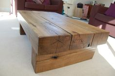 An oak sleeper coffee table