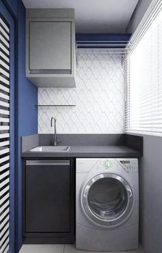 decoração moderna em tons de azul e cinza para lavanderia pequena planejada #lavanderia #decoração