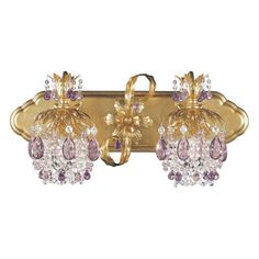 Schonbek 1255 Rondelle 2 Light Down Lighting Colored Crystal Wall Sconce