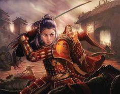 f Fighter Hvy Armor Sword urban city Asian Faction Shiba Iaimiko - Adam Schumpert, Phoenix Clan Kabuto Samurai, Ronin Samurai, Female Samurai, 3d Fantasy, Fantasy Warrior, Fantasy Women, Fantasy Artwork, Fantasy Inspiration, Character Inspiration