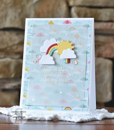 Card by Amy Sheffer. Reverse Confetti stamp set and coordinating Confetti Cuts: Weather It Together. Friendship card. Encouragement crd.