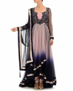 Cherry Blossom & Midnight Blue Anarkali Suit