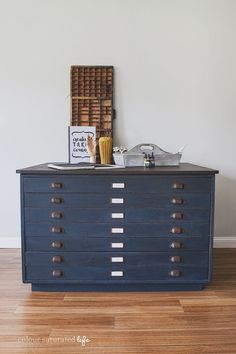 Beautifully painted industrial architect's cabinet from Color Saturated Life | Friday Favorites at www.andersonandgrant.com