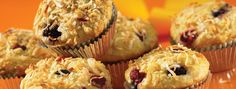 Coconut Crunch Muffins | Start your morning with a crunch! These mouth-watering coconut muffins are filled with berries and a zesty hint of citrus.